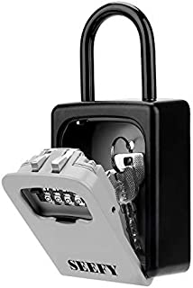 SEEFY LB01 Lock Box, Portable Safe with 4-Digit Combination for House Key Storage, for Realtor Contractor Seniors Family and Friends
