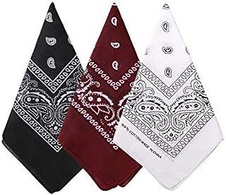 Bycc Bynn 3 Pack 100% Cotton Paisley Pattern Bandanas Square Scarf Headwear (Black + Burgundy + White)