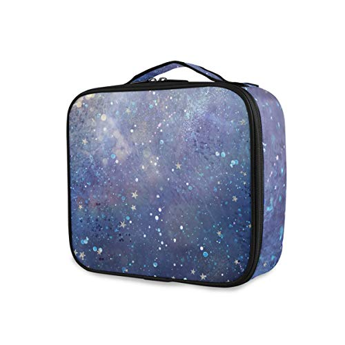 Space Stars Starry Sky Tools Cosmetic Train Case Purse Storage Makeup Bag Toiletry Pouch Travel Portable