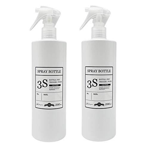 スリーエス 柔らかミストを噴霧する コンパクトノズル スプレーボトル 霧吹き 容器 ホワイト きれいに剥がせるラベル付き 500ML 2本セット