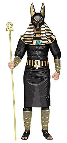shoperama 7-teiliges Herren Kostüm Ägyptischer Gott Anubis König Ägypter Verkleidung Totengott Mythologie Gottheit, Größe:M/L