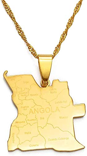 LKLFC Collar Mujer Collar Hombre Collar Colgante con Nombre de Stadt Tarjeta de Angola Collares Pendientes Color Dorado Joyería Africana Collar de mapas angoleños Collar Niñas Niños Regalo