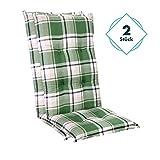 Homeoutfit24 Sun Garden 2-Stück Gartenstuhl-Auflage Prato in Grün, gepolstertes Sitzkissen für Hochlehner-Gartenmöbel, 120 x 50 x 7 cm