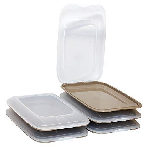 ENGELLAND - Hochwertige stapelbare Aufschnitt-Boxen, Frischhaltedose für Aufschnitt. Wurst Behälter. Perfekte Ordnung im Kühlschrank, 5 Stück Farbe Braun, Maße 25 x 17 x 3.3 cm