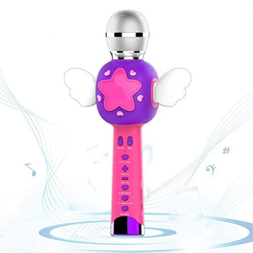 VOZKOM Mikrofon Karaoke Kinder mit Aufnahmefunktion, Kinder Mikrofon ab 3 Jahre, Mädchen Spielzeug Ab 3 Jahre (Rosa & Blau)