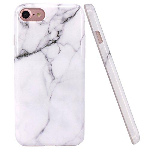 JIAXIUFEN iPhone 7 Funda, iPhone 8 Funda, Funda de Silicona Suave Case Cover Protección Cáscara Soft Gel TPU Carcasa Funda para Apple iPhone 7/iPhone 8 - Blanco Mármol Diseño