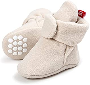 Lacofia Zapatos de calcetín de bebé Invierno Botas Antideslizantes de Suela Blanda para bebé niño o niña Beige 0-6 Meses