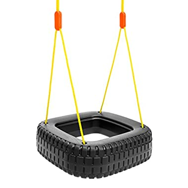 Best Choice Products Kids 2-Children Outdoor Tire Swing Set - Black