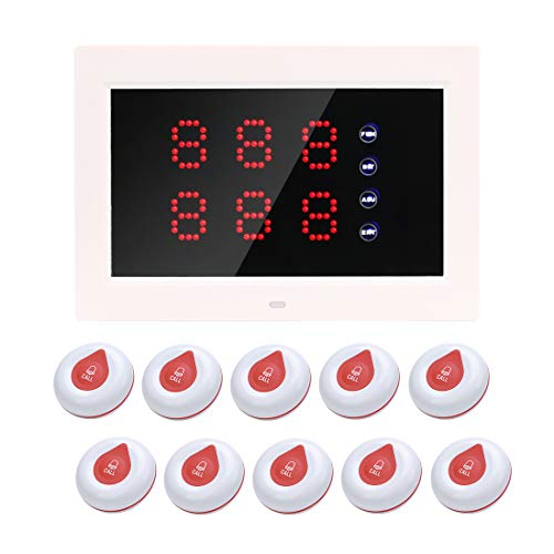 Call Buttons & Wireless Caregiver Pager,Wireless Emergency Button for Eldery Hospital Queue Management Long Range Waiting Number System for Restaurant/Clinic/Bank (1 Display+10 Waterproof Buttons)