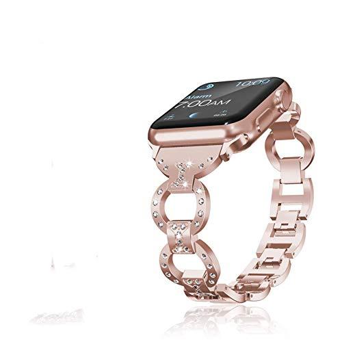 Correa de acero inoxidable de reemplazo de diamante Fullmetal para Apple Watch 2 3 38 mm 40 mm iwatch Series 4 5 6 SE 42 mm 44 mm Correa de pulsera