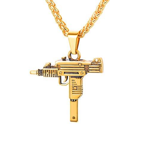 U7 Herren Halskette 18k vergoldet Sturmgewehr Mini Uzi Form Anhänger mit 50+5cm Weizenkette Coole Armee Gewehr Waffe Hip Hop Modeschmuck Geschenk für Männer Jungen