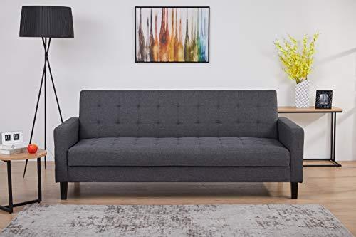 AmazonBasics - Divano letto a 3 posti - 204 x 85 x 81 cm, grigio scuro