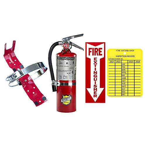 5Lb Fire Extinguisher 2A10BC Buckeye Class ABC Dry Chemical With Vehicle Bracket, Sign And Inspection Tag