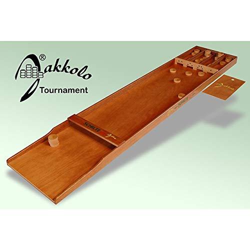 Jakkolo Tournament / holländisches Brettspiel inkl. 30 Spielsteine (Pucks) und Spielanleitung / Material: Holz / Maße: 200 x 40 x 6 cm