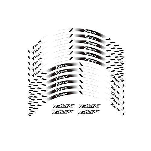 FIT YAMAHA TMAX TMAX500 TMAX530 500 530 15 '' X 12 Bordo Spesso Esterno Rim Sticker pegatinas Banda ruedas (Color : White)