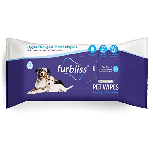Furbliss Hygienic Pet Wipes for Dogs & Cats, Cleansing Grooming & Deodorizing Hypoallergenic Thick Wipes with All Natural Deoplex Deodorizer by Vetnique Labs (Unscented, 100ct Pouch)