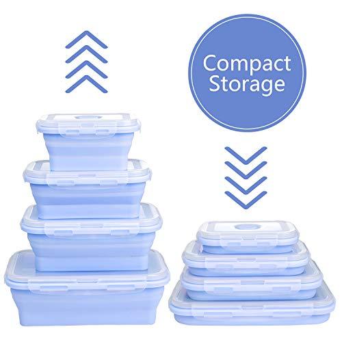 WolinTek 4 Pcs Faltbare Frischhalteboxen Faltbare Frischhalteboxen Brotdosen aus Silikon Faltbare Silikon Brotbox Silikon Frischhaltedosen Faltbare frischhaltedosen Set (Blau)