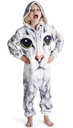 Pijamas de un Pieza Niño Niña Unicornio Conejo Koala Perro Gato Dinosaurio Pingüino Pijama Niños Niñas 2-14 Años (13-14 años, Gato)