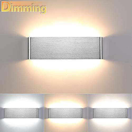 Lightess 16W Wandleuchte Innen Dimmbar LED Modern Treppenhaus Beleuchtung Wandlampe Silber Dimmen mit Up Down Licht IP44 aus reinem Aluminium für Wohnzimmer Schlafzimmer FlurTreppen usw