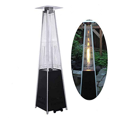 LIDS Outdoor Patio Gas Heater Stainless Steel Pyramid Propane Burner Infrared Heater, Free Standing Patio Heaters Tower Heater Garden Heaters Outdoors with Portable Wheels Regulator Hose (Black)