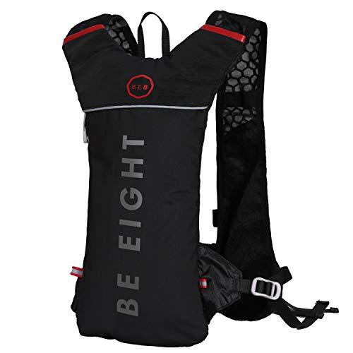 BE8(ビーエイト) ランニング リュック スポーツ 【 自転車バッグ (自転車リュック) としも利用可能 】ハイドレーション リュック (30日間の製品保証付き&日本企業による企画販売) 超軽量230g 光反射 通気 防水 5L (ブラック)