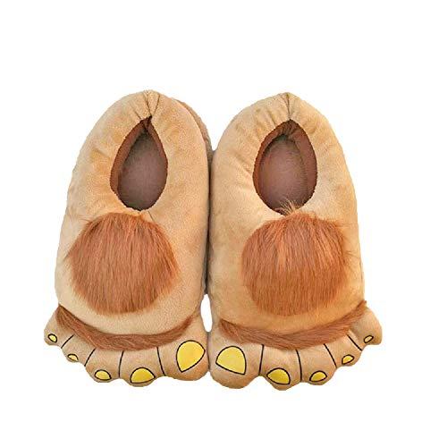 Yuchen Unisex Hobbit Fuß Plüsch Hausschuhe Winter Komfortable Erwachsene Warm Baumwolle Hausschuhe (36-42 EU, Khaki, 36)