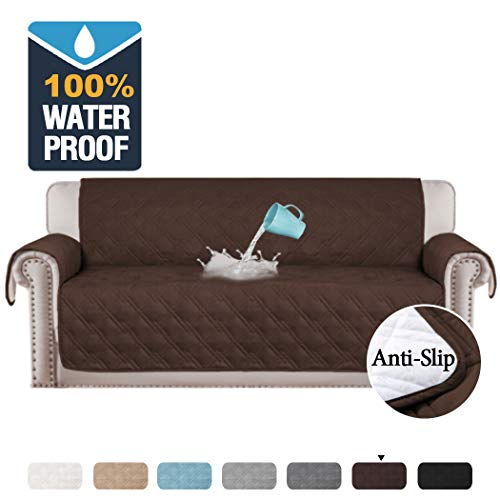 H.VERSAILTEX 100% Waterproof Extra-Wide Couch Cover for Dogs Non-Slip Oversized Sofa Covers for Leather Couch, Seat Width Up to 78 Inch Washable Furniture Protector (Oversized Sofa 78', Brown)