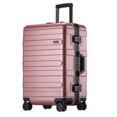 Mdsfe Maleta rígida con Marco de Aluminio de 20'24' 29'Pulgadas con Ruedas abs Spinner Cabina Trolley Equipaje para Viajar - Rosa Dorado, 26'