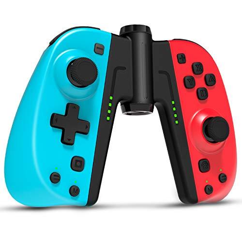Gamory Reemplazo del controlador para Switch, Switch Joy-Con soporte de carga, batería recargable de iones de litio, 2000 mAh, agarre LED azul para controlador de gamepad