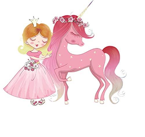Rosa fantasía princesa y disfraz de unicornio dormitorio sala de estar porche decoración de la pared etiqueta de la pared decorativa