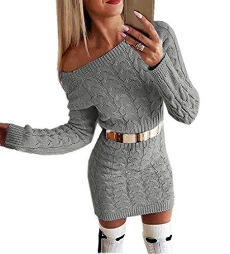 ZIYYOOHY Damen Schulterfrei PulloverKleid Strickkleid Sweater Oberteile Sweatshirt Tops Bluse Lang (36, Grau)
