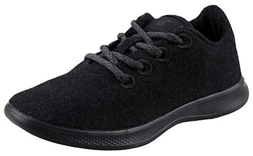 Urban Fox Damen Beckett Wool Fashion Sneakers | Fashion Sneakers Damen | Wolle Sneakers Damen |, Schwarz (schwarz), 37 EU