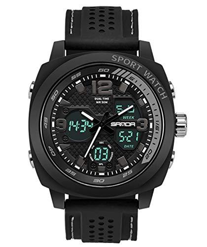 MLHXHX Relojes de hombre al aire libre Militar Relojes Deportes Impermeable Doble Pantalla de los Hombres Relojes Multifunción Led Electrónica Estudiante Relojes Negro 6