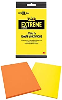 Post-it Extreme XL Notes, Works outdoors, Works in 0 - 120 degrees Fahrenheit, 100X the holding power, Orange and Yellow, 25 Sheets per Pad, 2 Pads/Pack