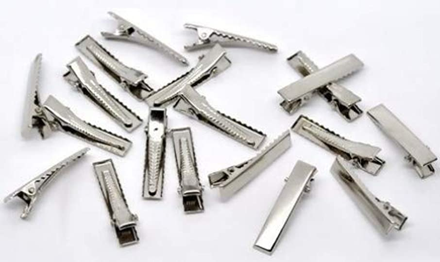 50 Pc Silver Tone Barrette Blank Hair Clips - DIY Crafts, Add Bows & Beads, Jewelry Making (32 x 7mm)