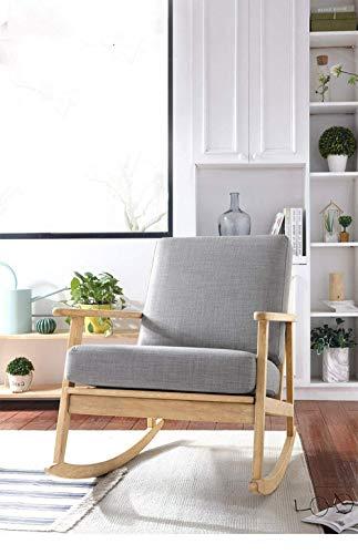 Sedia a dondolo, confortevole relax nordico balcone sedia a dondolo divano in tessuto sedia a dondolo in legno massello adulto pisolino sonno sedia balcone interno singolo tessuto pigro divano grigio