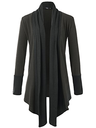 JayJay Women Boyfreind Loose Fit Long Sleeve Open Shawl Long Sweater Cardigan,Charcoal,2XL