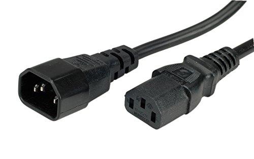 ROLINE Stromkabel mit Kaltegerätstecker | IEC320 C14 Stecker und C13 Buchse | Schwarz | 3 m