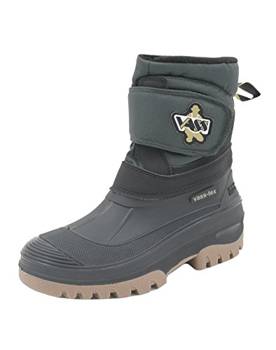 Vass-Tex Fleece Lined Boots With Velcro Strap (Black/Green) Size 9