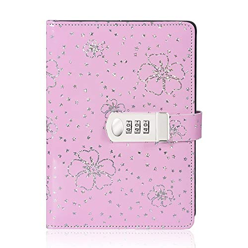 Password Diary with Lock, A5 PU Leather Diary with Combination Lock Digital Password Notebook Locking Personal Diary (Pink)
