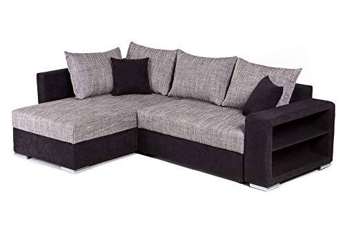 Collection AB Houston Polsterecke, Ecksofa, Schlafsofa mit Bettkasten, Mikrovelours-Struktur, schwarz / grau, Schenkelmaß 226 x 160 cm