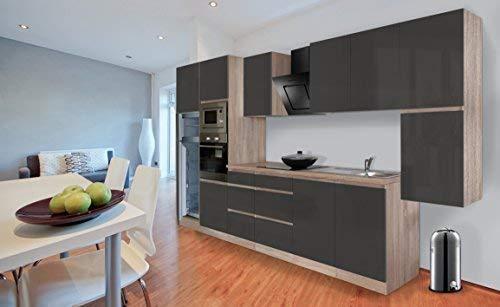 Respekta Premium griploze kitchenette keuken 385 cm eiken ruw replica grijs hoogglans incl. softclose/koel-vriescombinatie 144 cm & keramische kookplaat