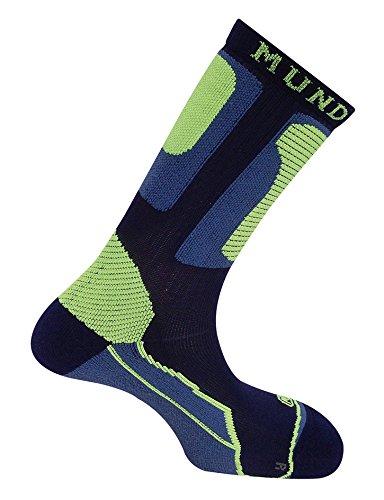 Mund Socks - Calza per pattinaggio roller antibagagli con piede sinistro e piede destro differenziato, blu, S (34-37)