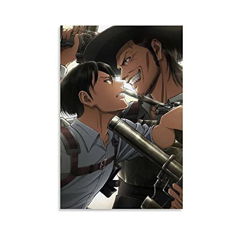 HAPPOW Póster de anime Attack On Titan 01, lienzo decorativo para pared, 40 x 60 cm