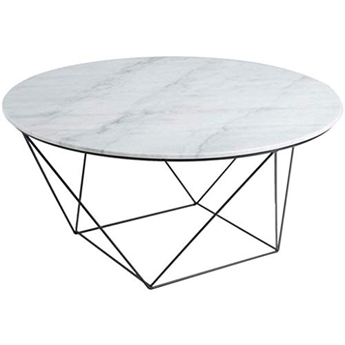 WSHFHDLC coffee table End Tables Round Coffee Table Contemporary Cocktail Table Sofa Side Table for Living Room and Office White Natural Marble Table Top and Black X Metal Base small coffee tables