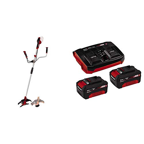 Einhell AGILLO - Guadaña a Baterías, 2x18V + Kit de iniciación PXC 2 x 3,0 Ah y el kit de cargador doble