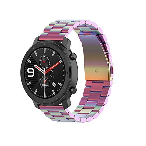 Pulseira de relógio inteligente Hemobllo 42 mm colorida com três contas de aço compatível com Amazfit GTR (Preta), Colorful, 42mm
