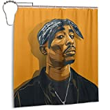 Gudenice Tupac Shower Curtain Single-Sided Printing Bathroom with 12 Iron Hooks 66' W X 72' H