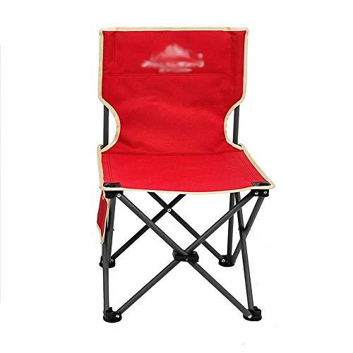 Outdoor klapstoel met rugleuning, draagbare campingstoel, visstoel, staal | Oxford-stof, rood, ideaal voor vrije tijd | camping | grill | vissen | strand, 33 x 33 x 54 cm