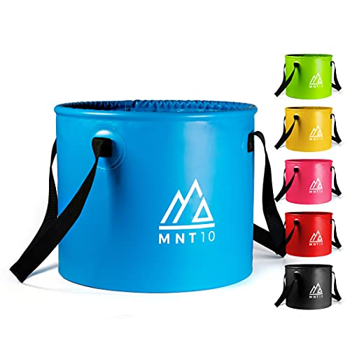 MNT10 Outdoor Falteimer in 15L oder 20L I Faltschüssel aus robustem Planen Gewebe I Als Camping Spülschüssel, Spülwanne oder als Faltbarer Eimer für Camping Geschirr, Besteck (Blau 15L)